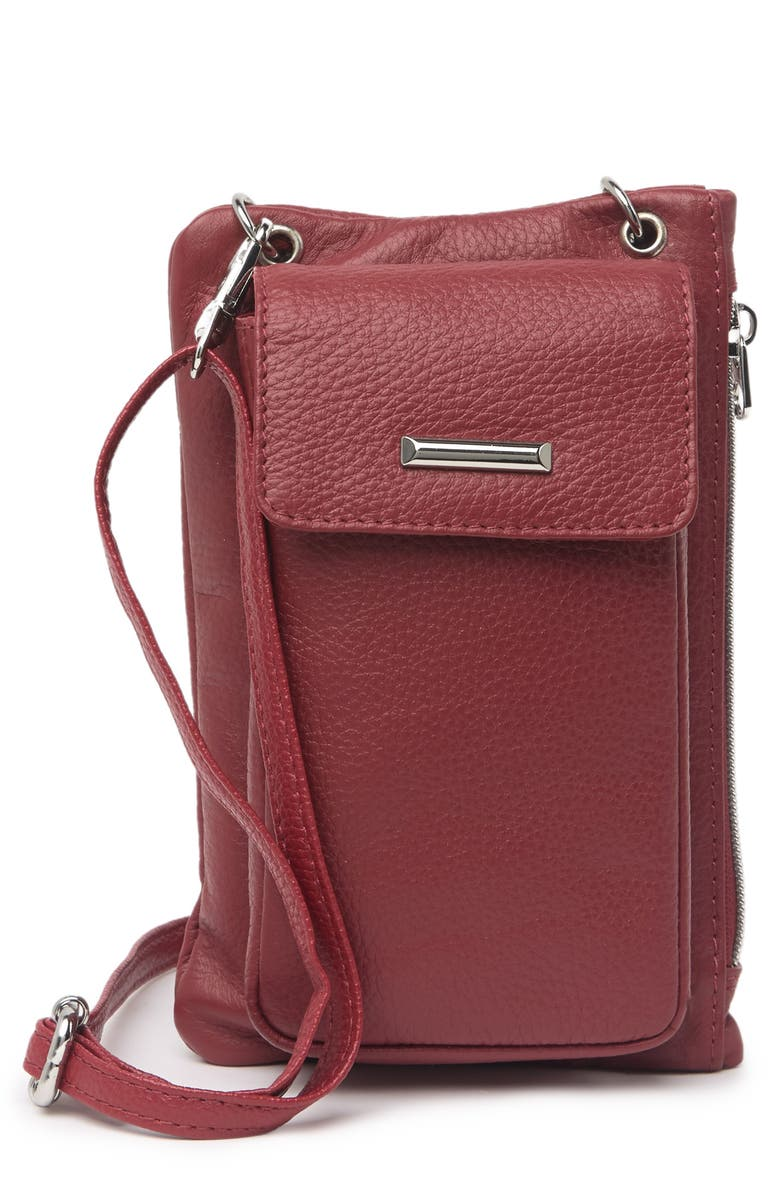 MUNDI Cornelia Leather Crossbody Bag, Main, color, RED