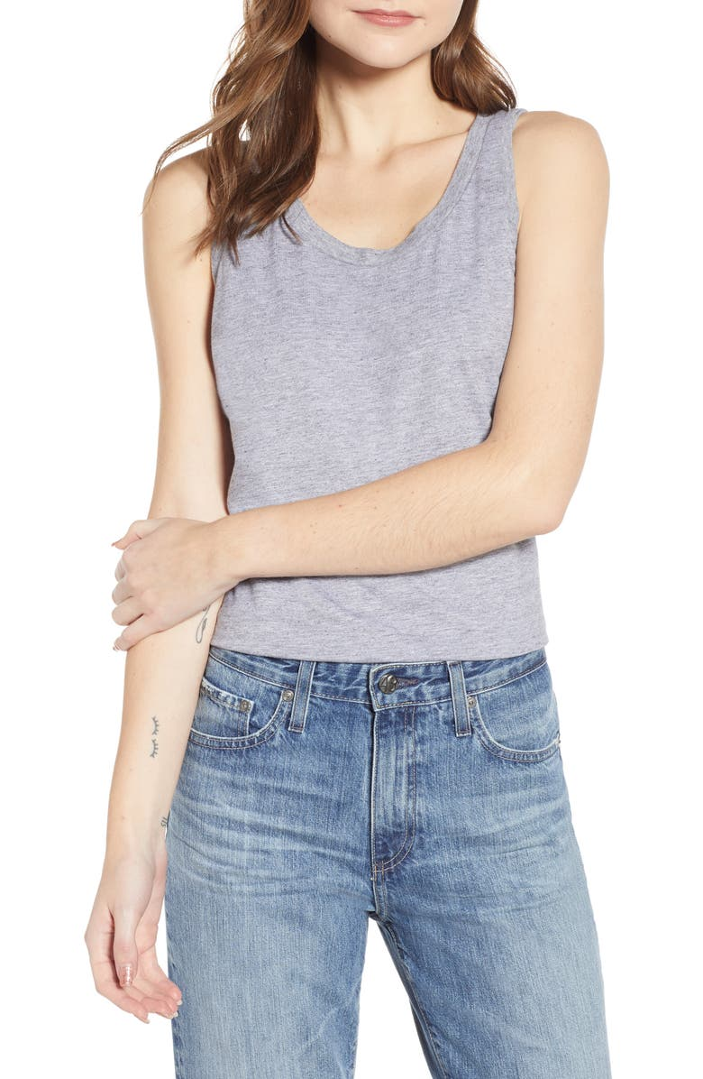 AG Cambria Fitted Tank, Main, color, HEATHER GREY
