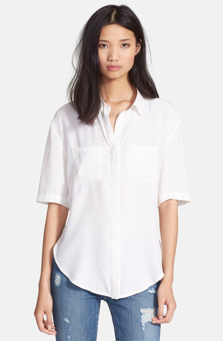 FRAME Denim 'Le Elbow' Silk Charmeuse Shirt, Main, color, 100