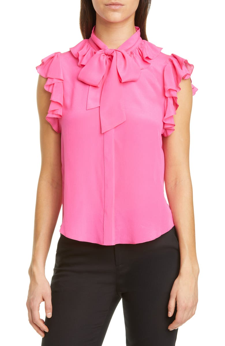 ALICE + OLIVIA Robbie Bow Neck Silk Blouse, Main, color, WILD PINK