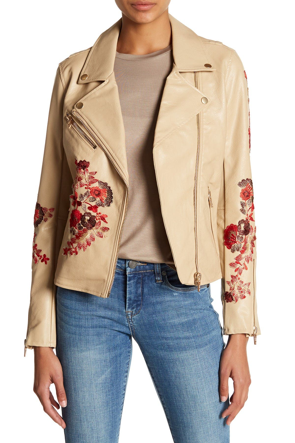 Image of BLANKNYC Denim Floral Embroidery Faux Leather Moto Jacket