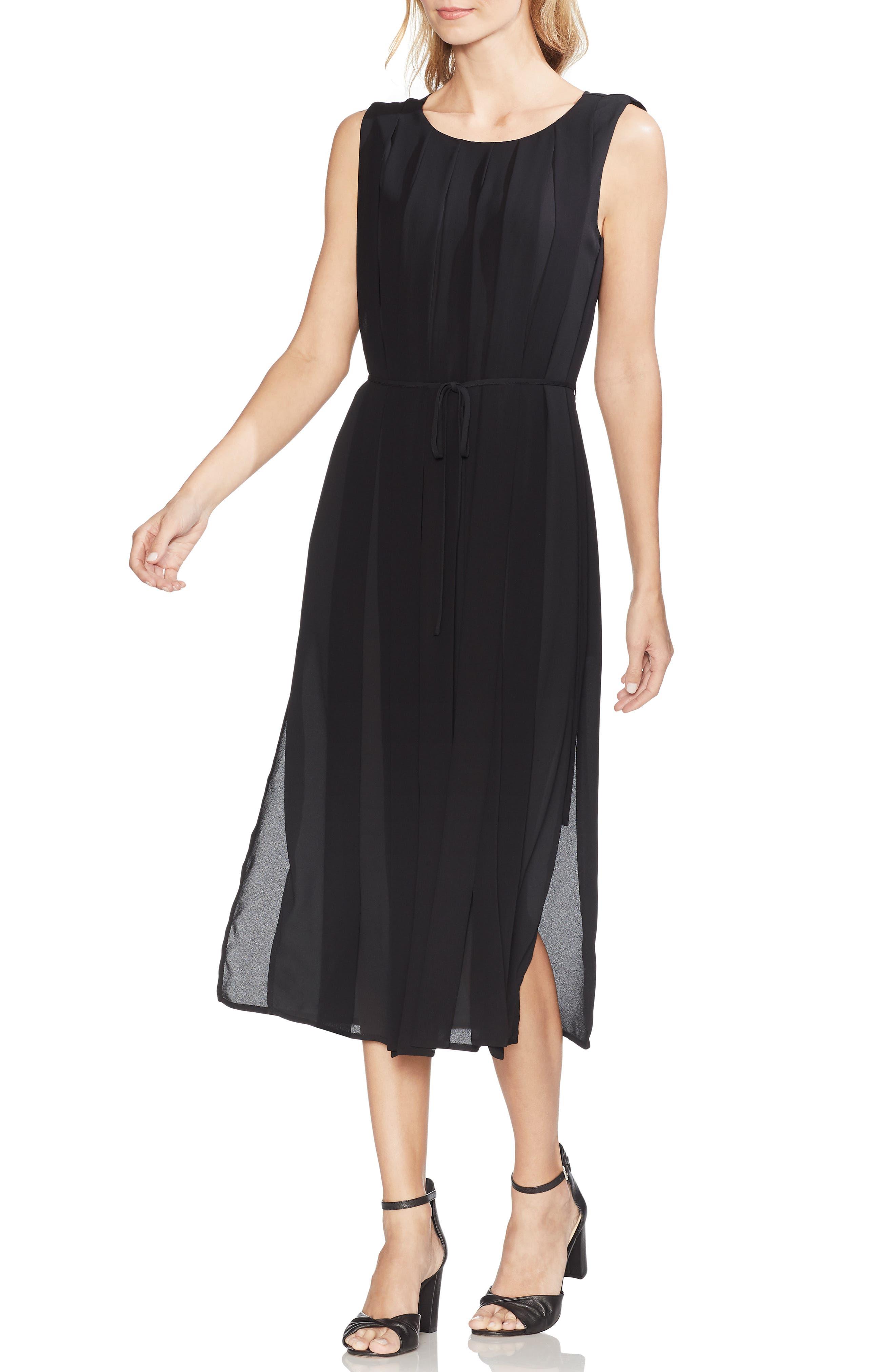 Pleated Overlay Sleeveless Dress, Main, color, RICH BLACK