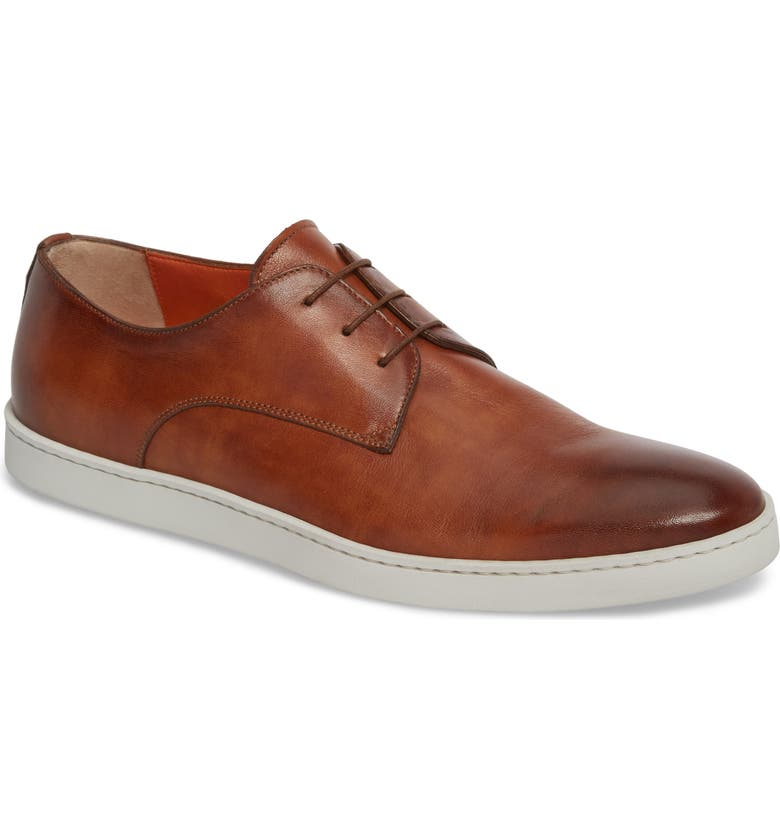 SANTONI Doyle Plain Toe Derby Sneaker, Main, color, TAN