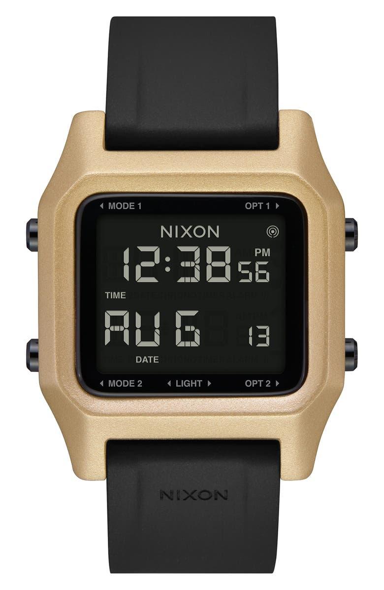 NIXON Staple Digital Silicone Strap Watch, 39mm, Main, color, BLACK/ GOLD