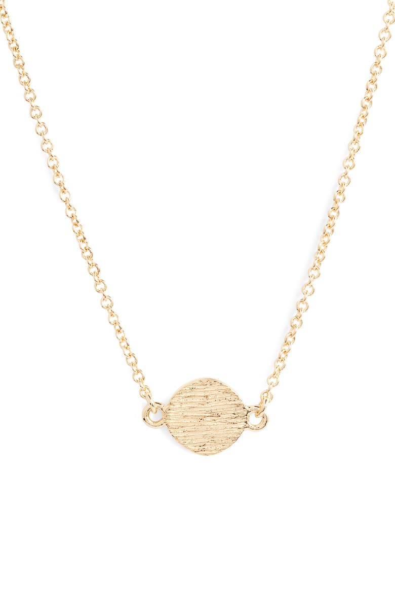 STERLING FOREVER Circle Pendant Necklace, Main, color, GOLD