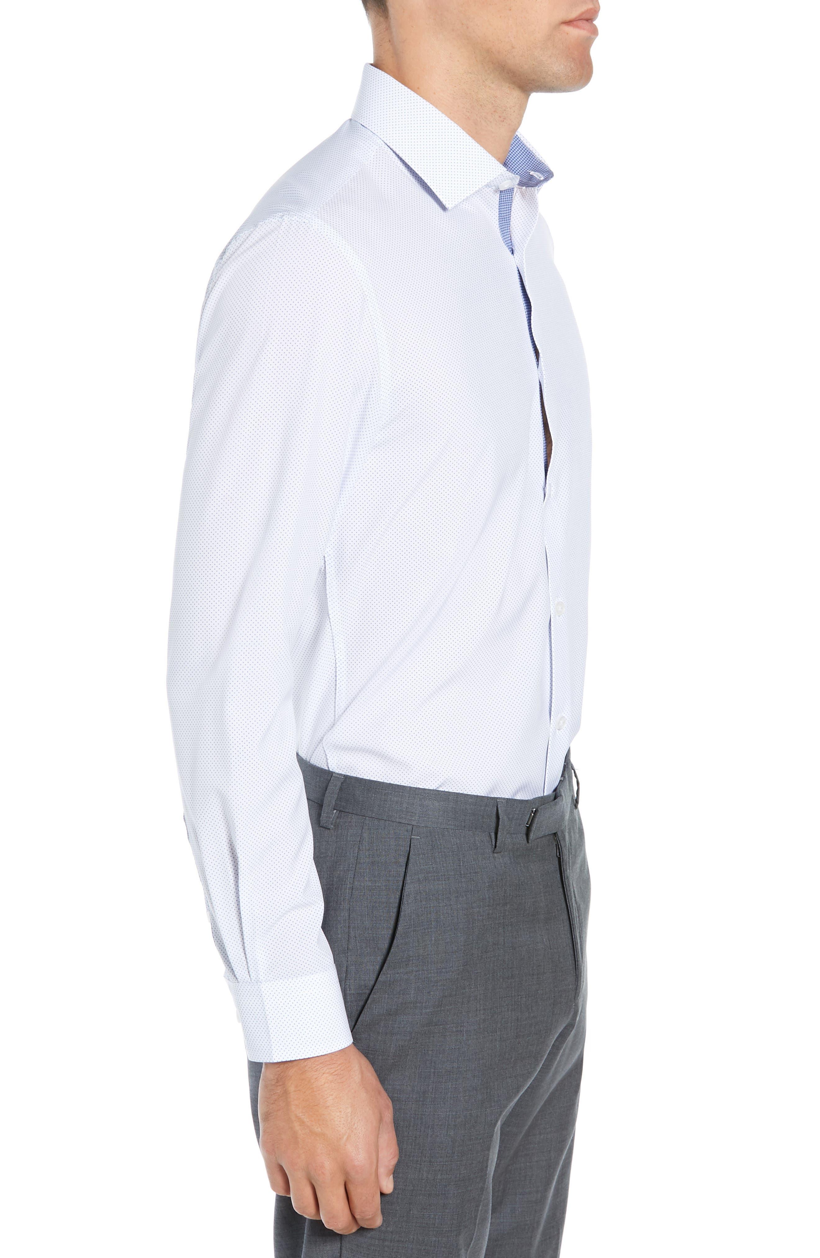 ,                             Slim Fit Performance Stretch Dot Dress Shirt,                             Alternate thumbnail 4, color,                             LIGHT BLUE