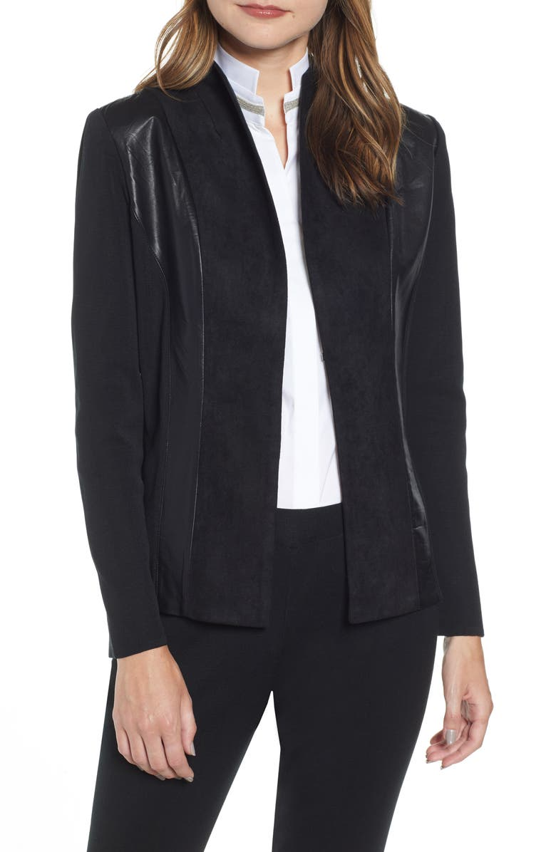 MING WANG Suede & Leather Panel Knit Jacket, Main, color, BLACK