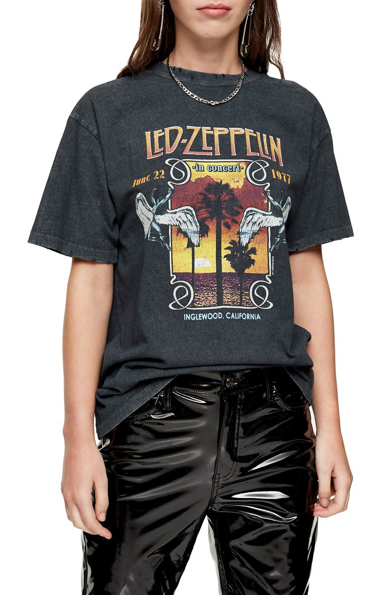 TOPSHOP Led Zeppelin Graphic Tee, Main, color, BLACK MULTI
