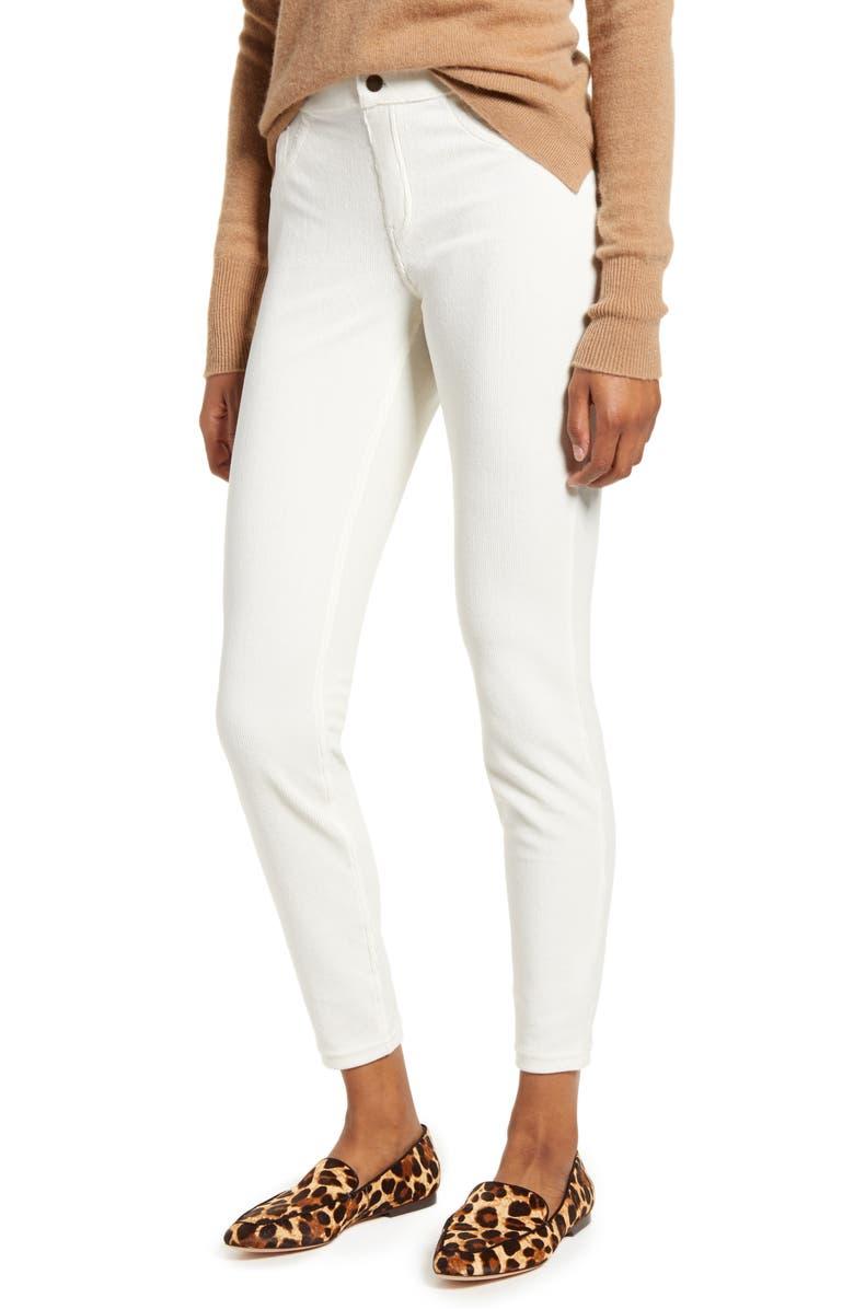 HUE Corduroy Leggings, Main, color, WHITE SATIN
