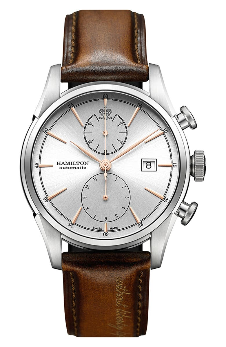 HAMILTON American Classic Automatic Chronograph Leather Strap Watch, 42mm, Main, color, BROWN/ SILVER