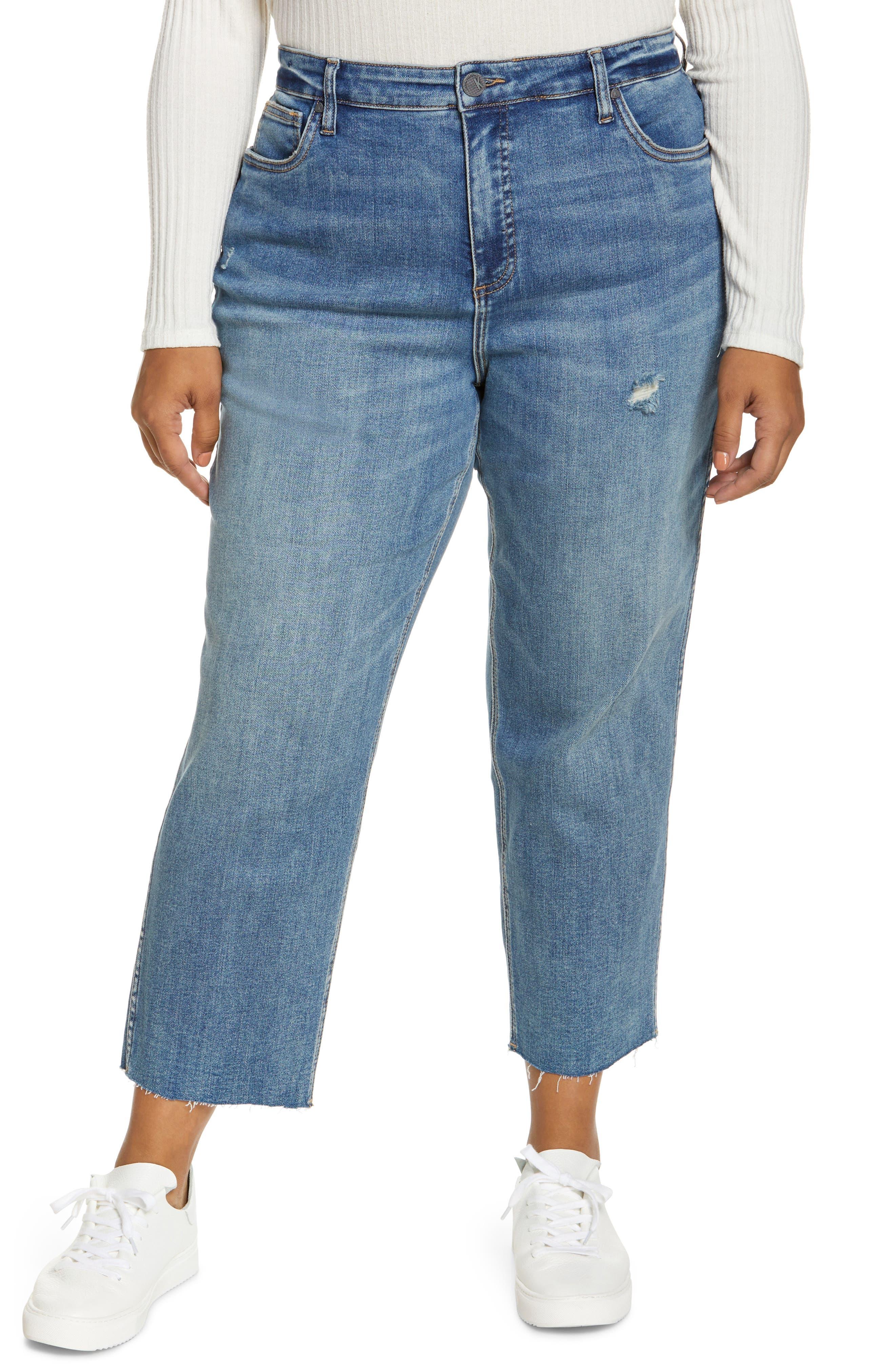 Rachael Fab Ab High Waist Raw Hem Mom Jeans