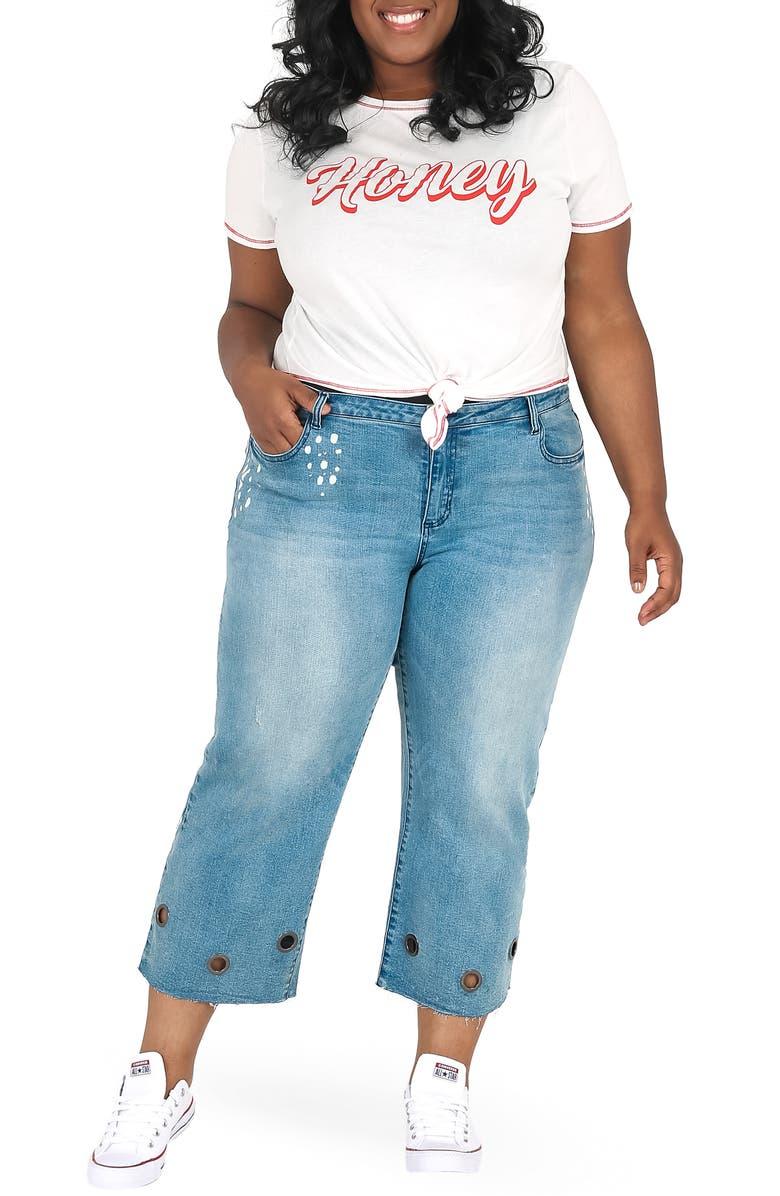 POETIC JUSTICE Janice Grommet Straight Leg Jeans, Main, color, BLUE