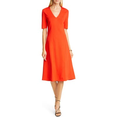 St. John Collection V-Neck Milano Sweater Dress, Red