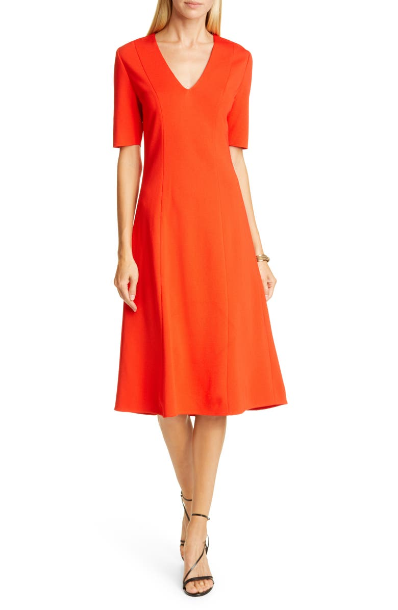 ST. JOHN COLLECTION V-Neck Milano Sweater Dress, Main, color, GERANIUM