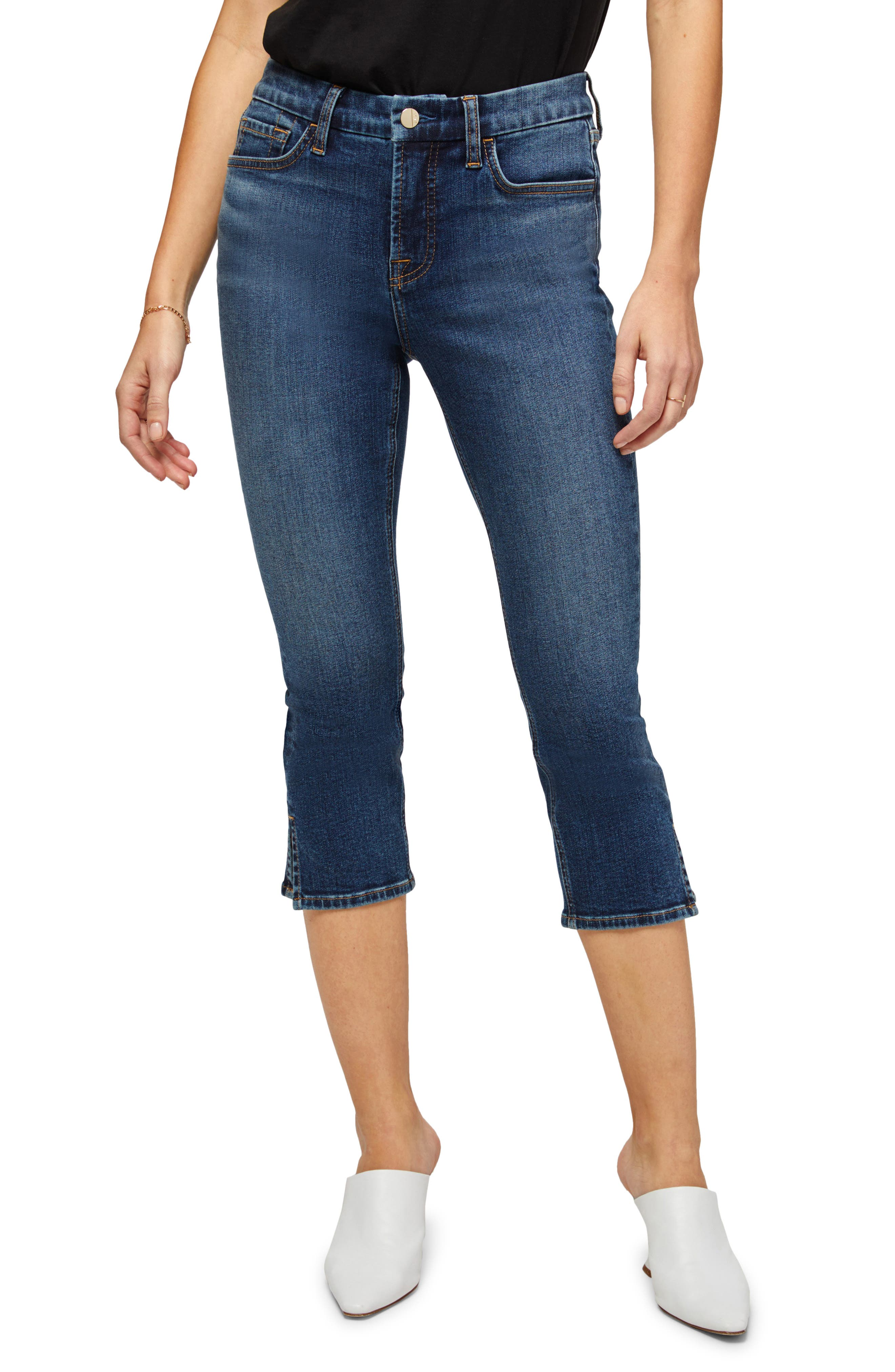 Split Hem Capri Jeans