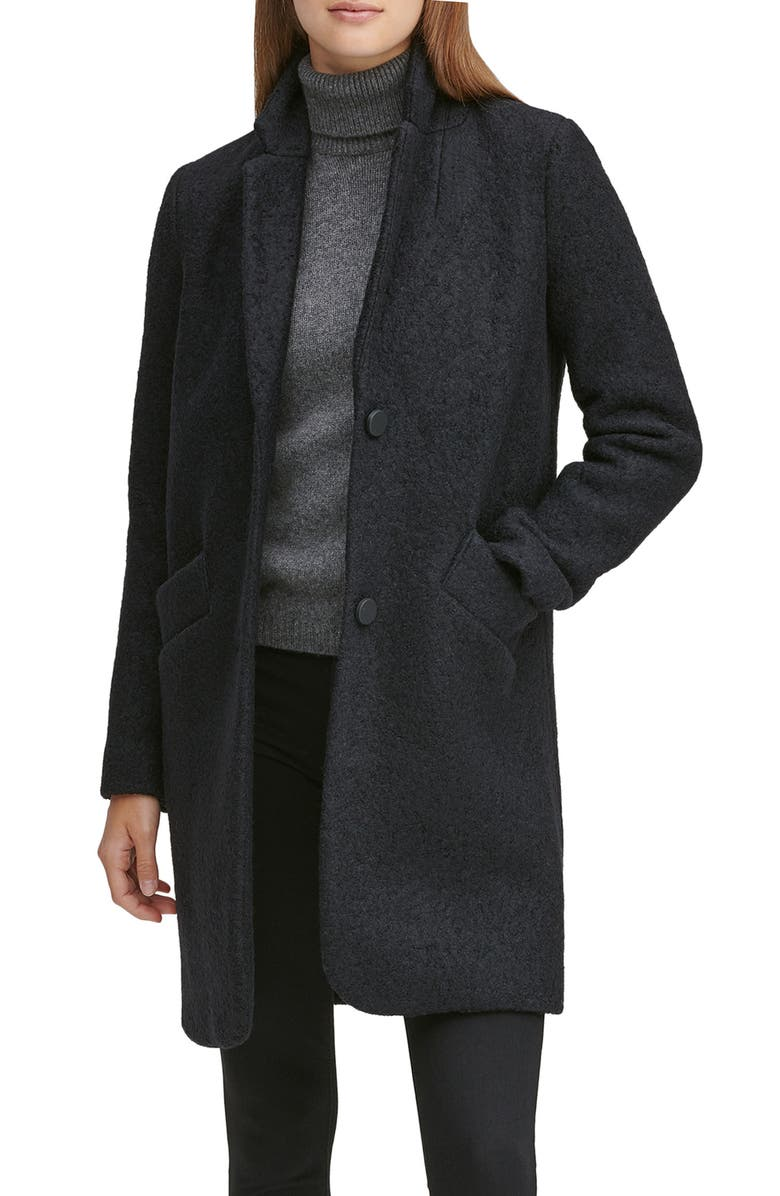 MARC NEW YORK Paige Bouclé Coat, Main, color, BLACK