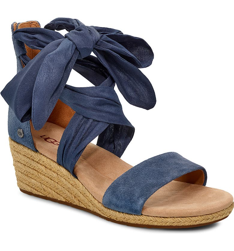 UGG<SUP>®</SUP> Trina Ribbon Tie Wedge Sandal, Main, color, DESERT BLUE LEATHER