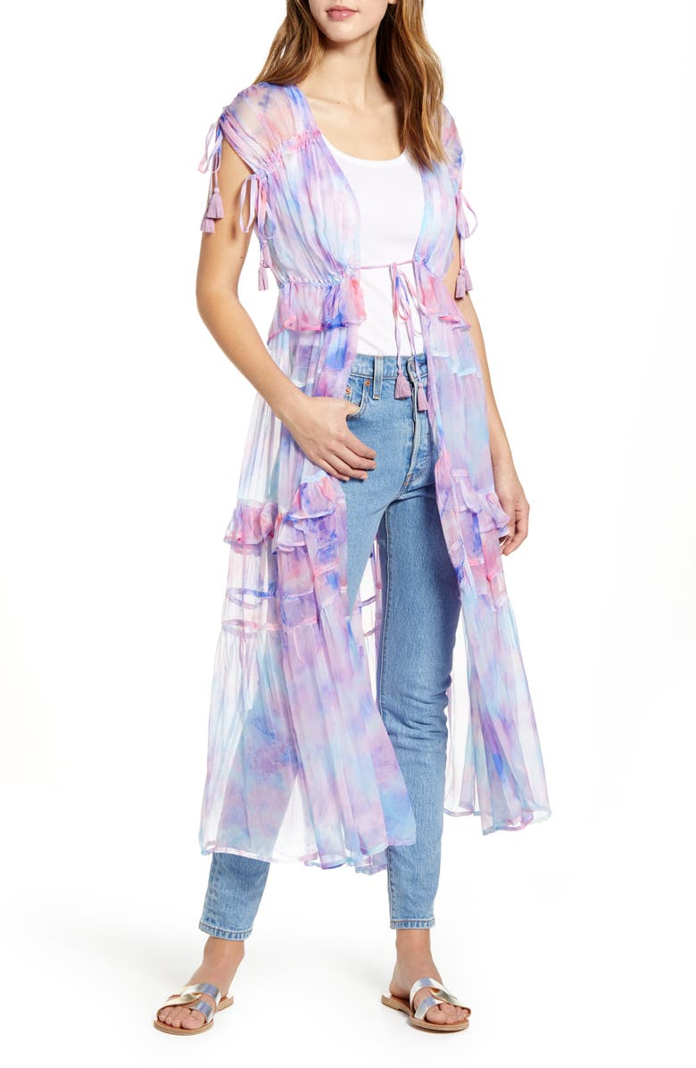 NFC Capri Chiffon Duster, Main, color, COTTON CANDY TYE DYE