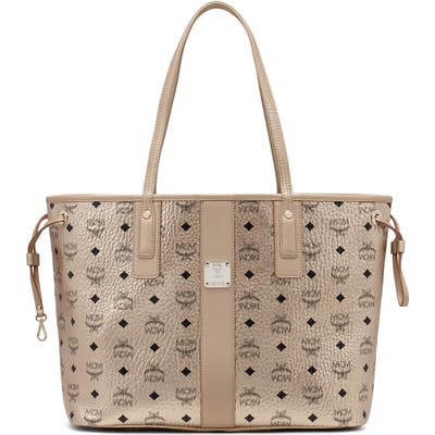 Mcm Project Visetos Coated Canvas Shopper - Metallic