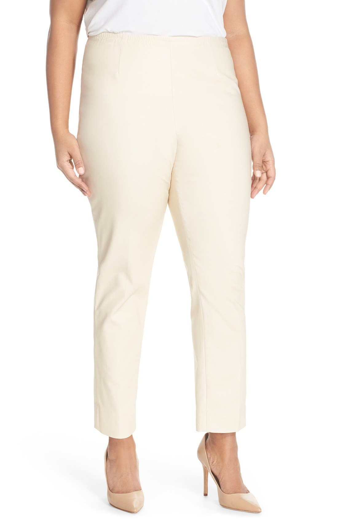 Clean, no-pocket styling creates a flattering, streamlined fit for versatile stretch-woven pants tailored with slim-cut legs. Style Name: Nic+Zoe \\\'Perfect\\\' High Rise Side Zip Pants (Plus Size). Style Number: 5021651 3. Available in stores.