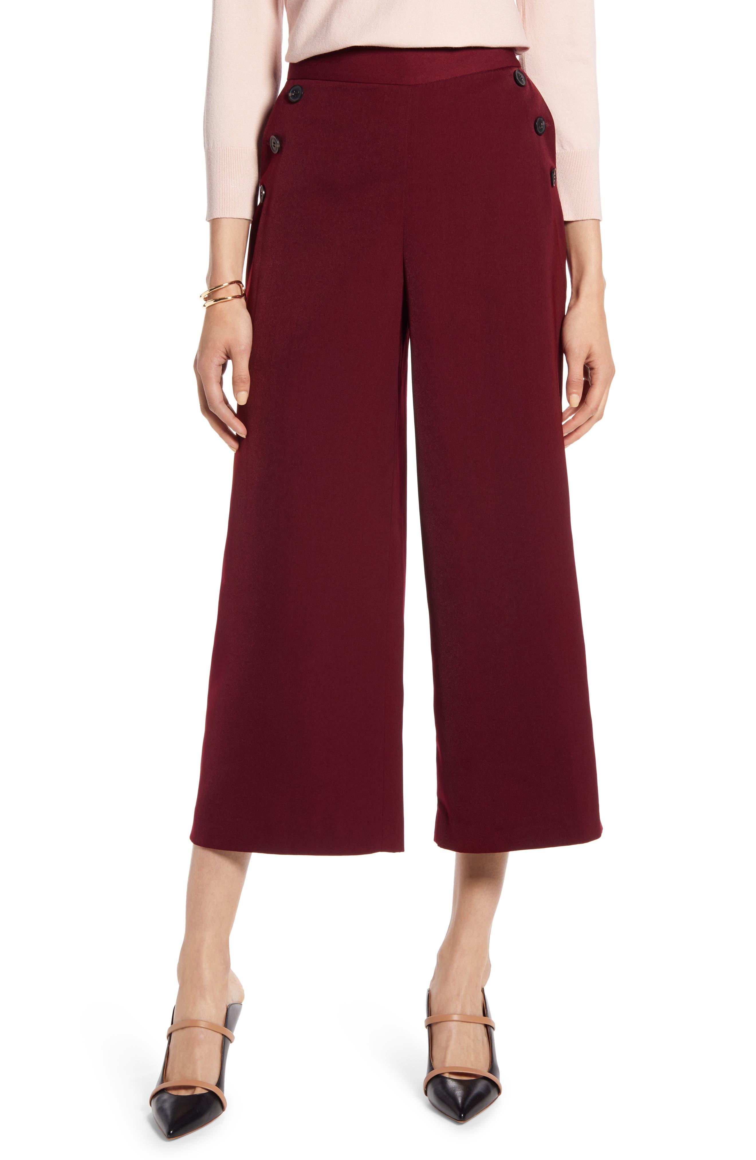 Halogen® Wide Leg Crop Pants (Regular & Petite)