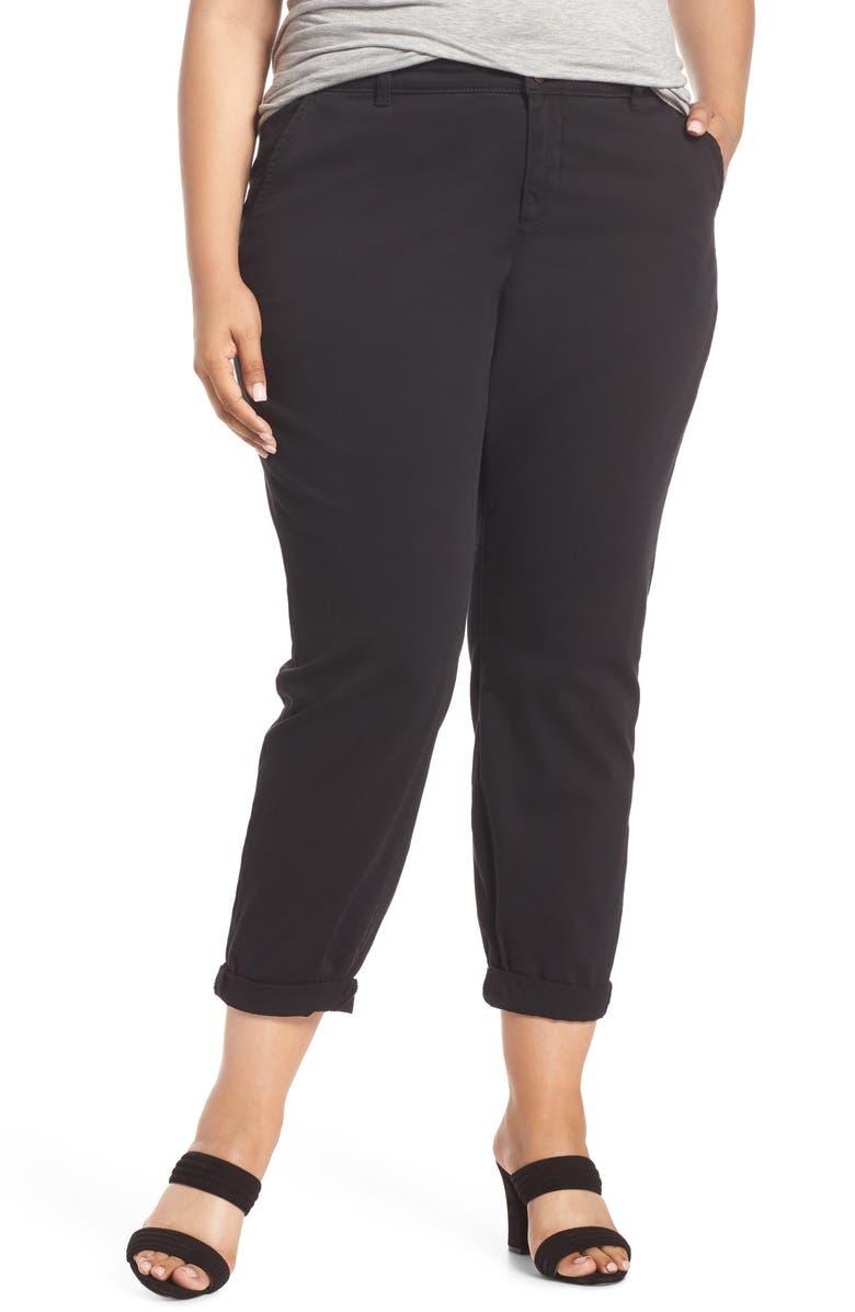 CASLON<SUP>®</SUP> Boyfriend Stretch Cotton Chino Pants, Main, color, 001