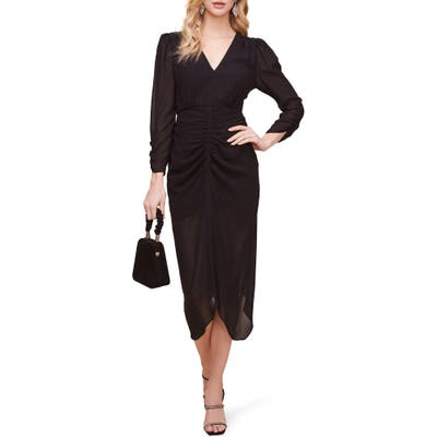 Astr The Label Ruched Front Midi Dress