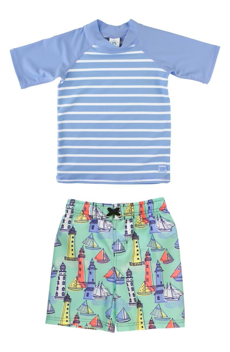 RUGGEDBUTTS Lighthouse Two-Piece Rashguard Swimsuit, Main, color, BLUE