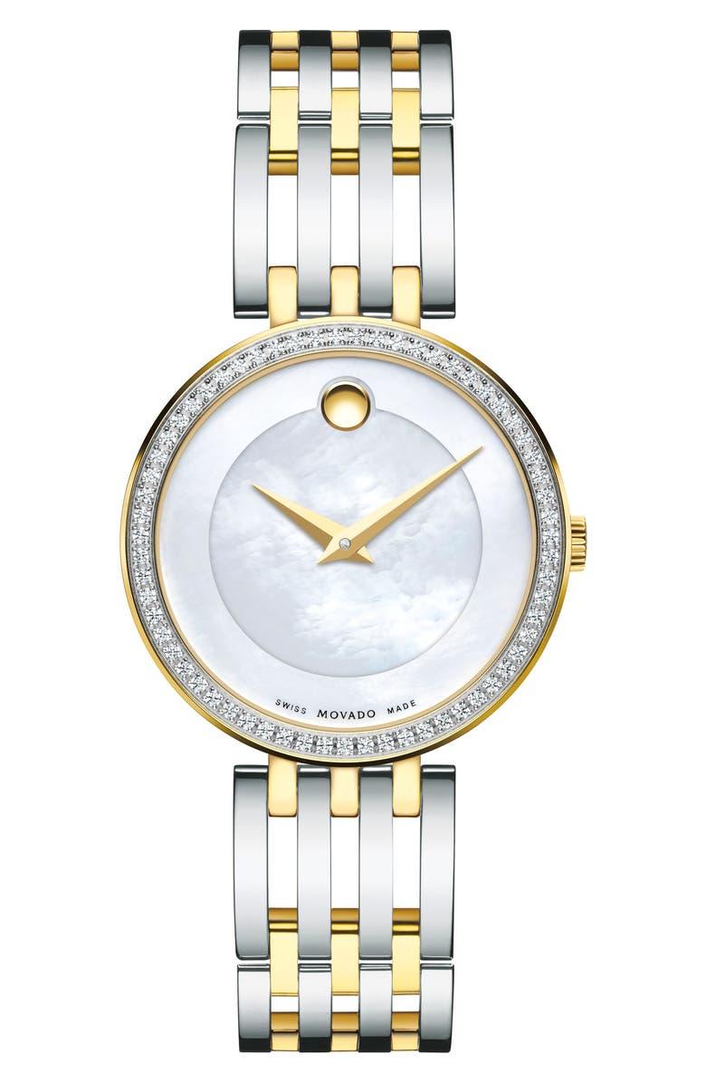 MOVADO 'Esperanza' Diamond Bezel Bracelet Watch, 28mm, Main, color, SILVER/ MOP/ SILVER