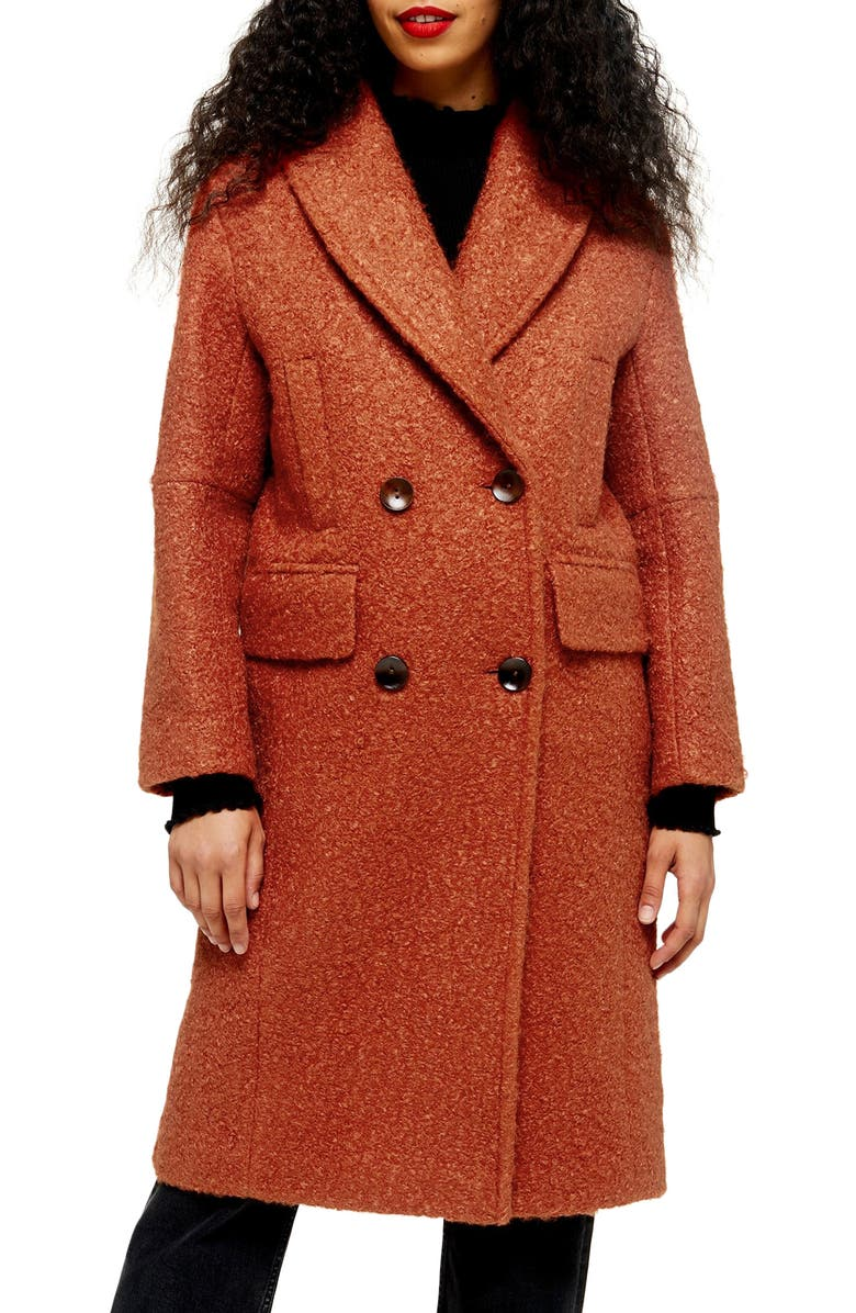 TOPSHOP Kim Bouclé Coat, Main, color, RUST