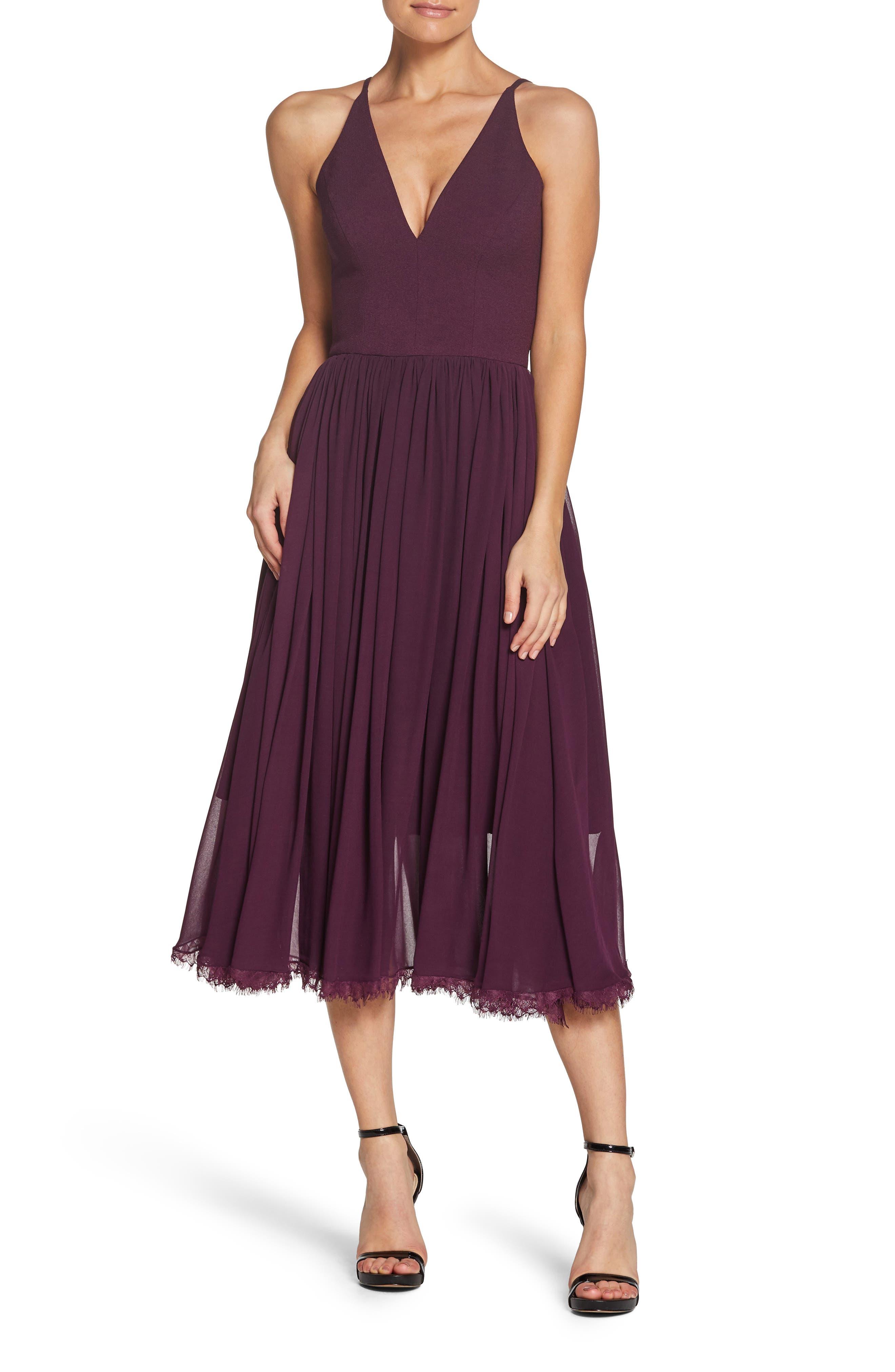 Alicia Mixed Media Midi Dress, Main, color, PLUM