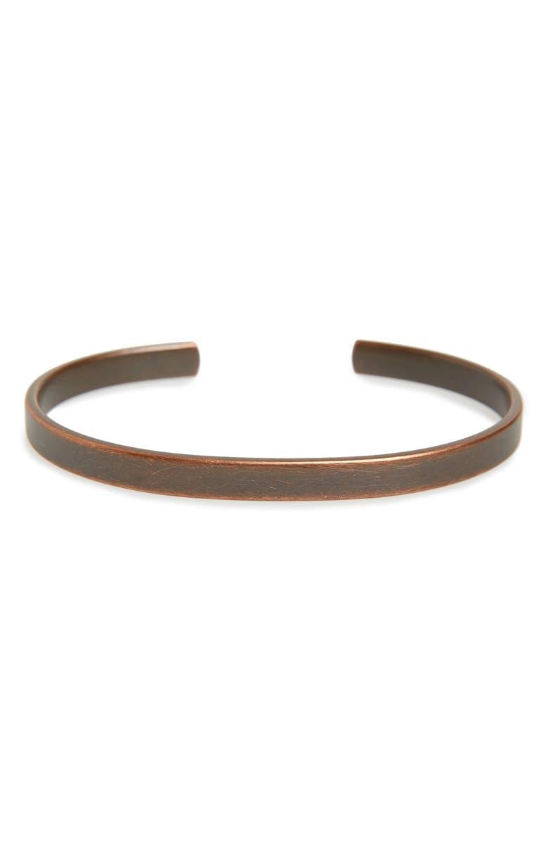CAPUTO & CO. Clean Metal Cuff Bracelet, Main, color, COPPER