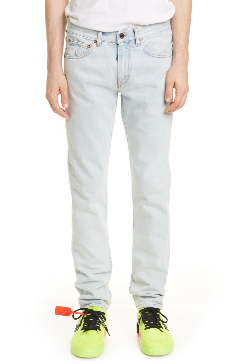 OFF-WHITE Slim Jeans, Main, color, BLEACH MINT