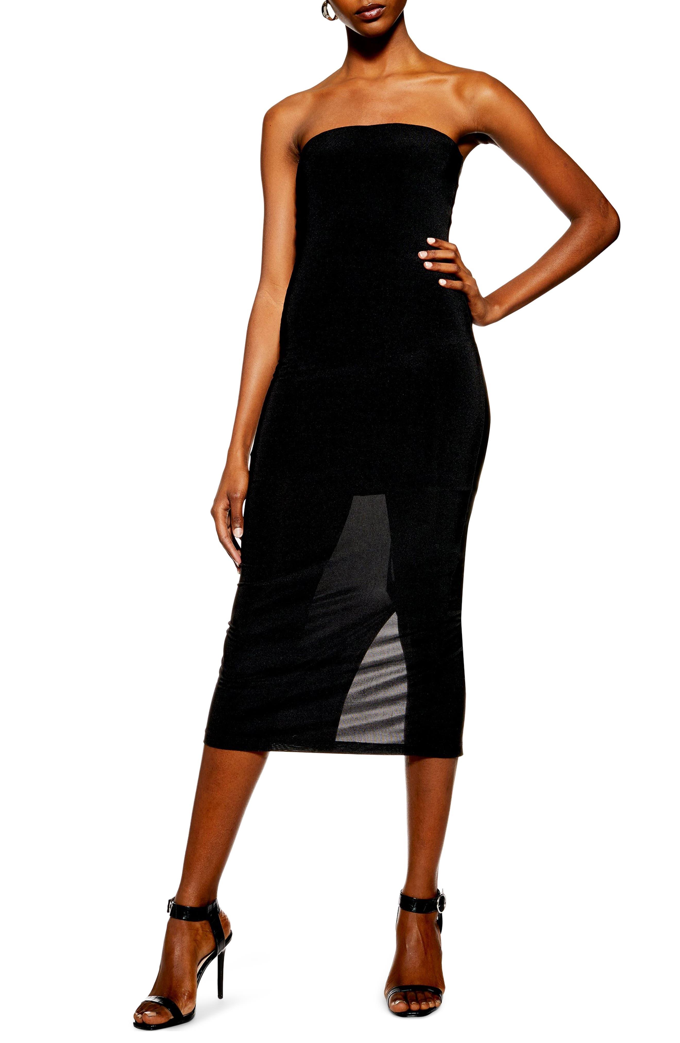 Topshop Slinky Strapless Midi Dress, US (fits like 2-4) - Black