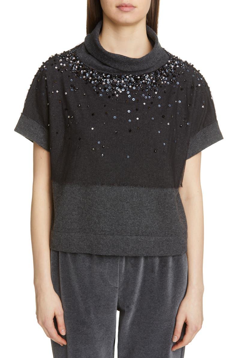 Fabiana Filippi Sequin Embroidered Short Sleeve Cape Top