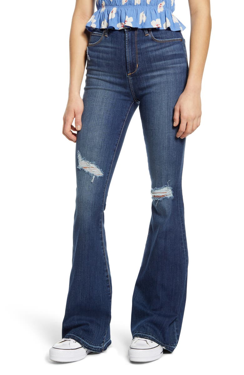 ARTICLES OF SOCIETY Bridgette Ripped High Waist Flare Jeans, Main, color, 404