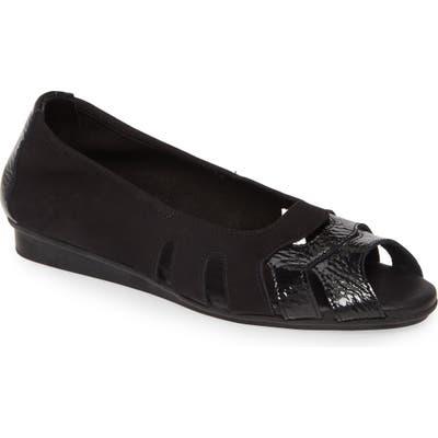 Arche Ninova Peep Toe Flat, Black