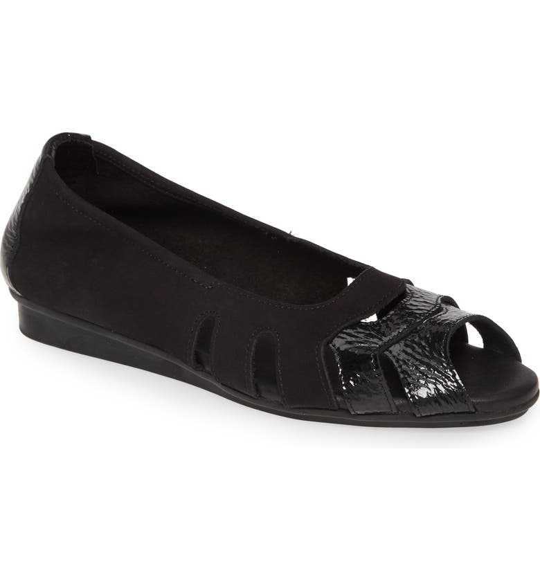 ARCHE Ninova Peep Toe Flat, Main, color, NOIR FABRIC