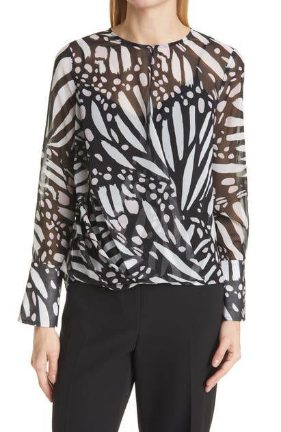 Milly ELYSA GRAPHIC BUTTERFLY LONG SLEEVE BLOUSE