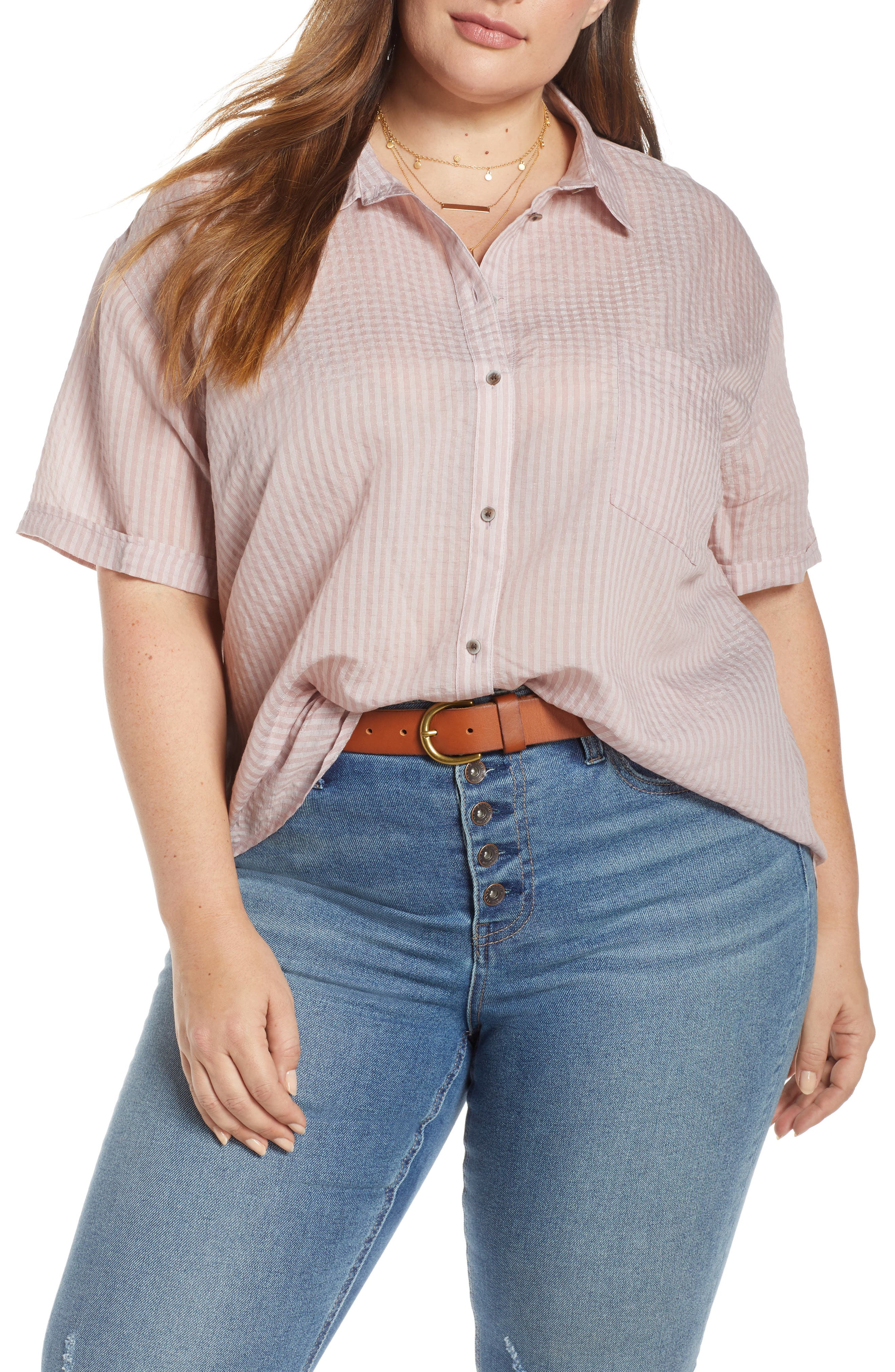 ,                             Stripe Short Sleeve Shirt,                             Alternate thumbnail 3, color,                             PINK CANYON CLOUD STRIPE
