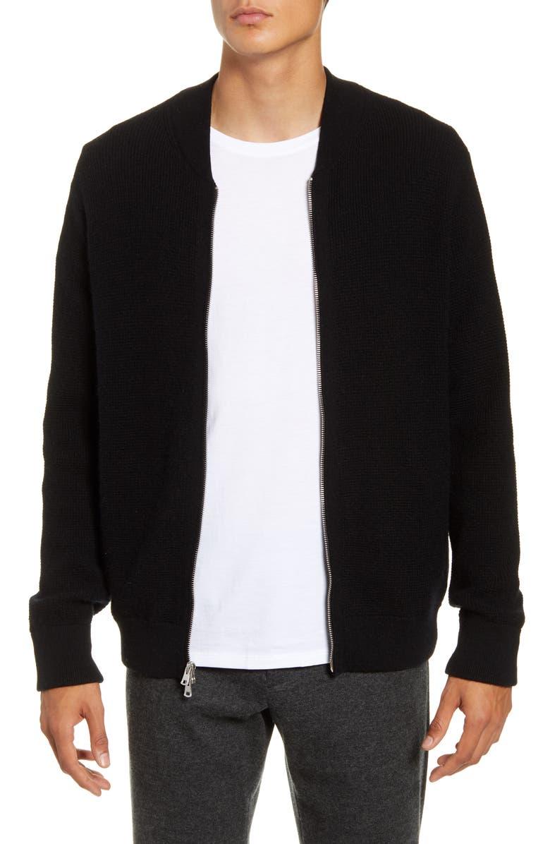 VINCE Slim Fit Zip Front Wool & Cashmere Sweater, Main, color, BLACK