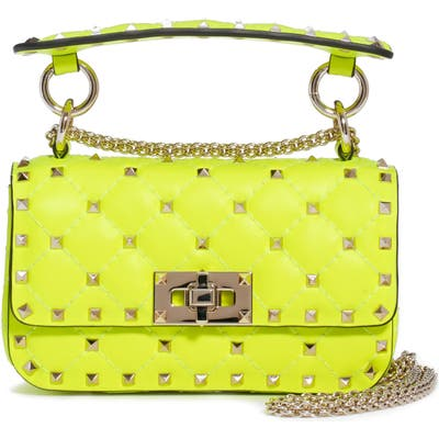 Valentino Garavani Mini Spike It Rockstud Neon Leather Shoulder Bag - Yellow