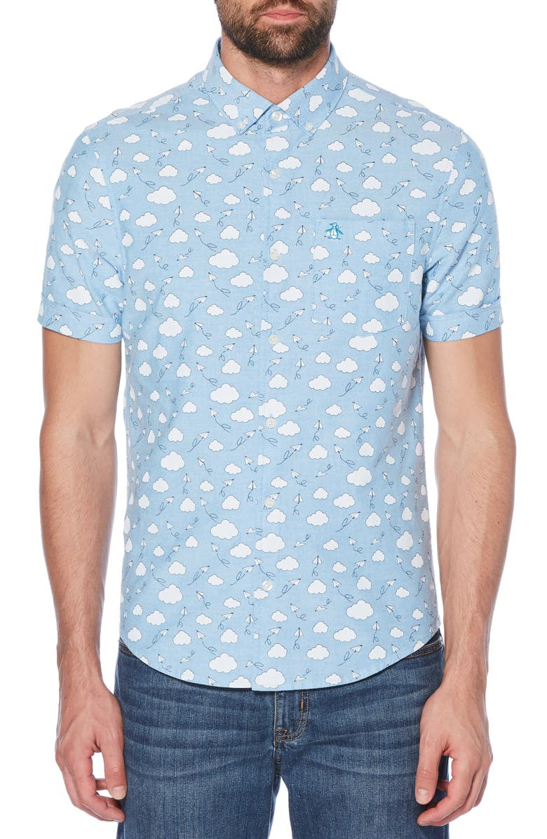 ORIGINAL PENGUIN Cloud Print Oxford Shirt, Main, color, 490