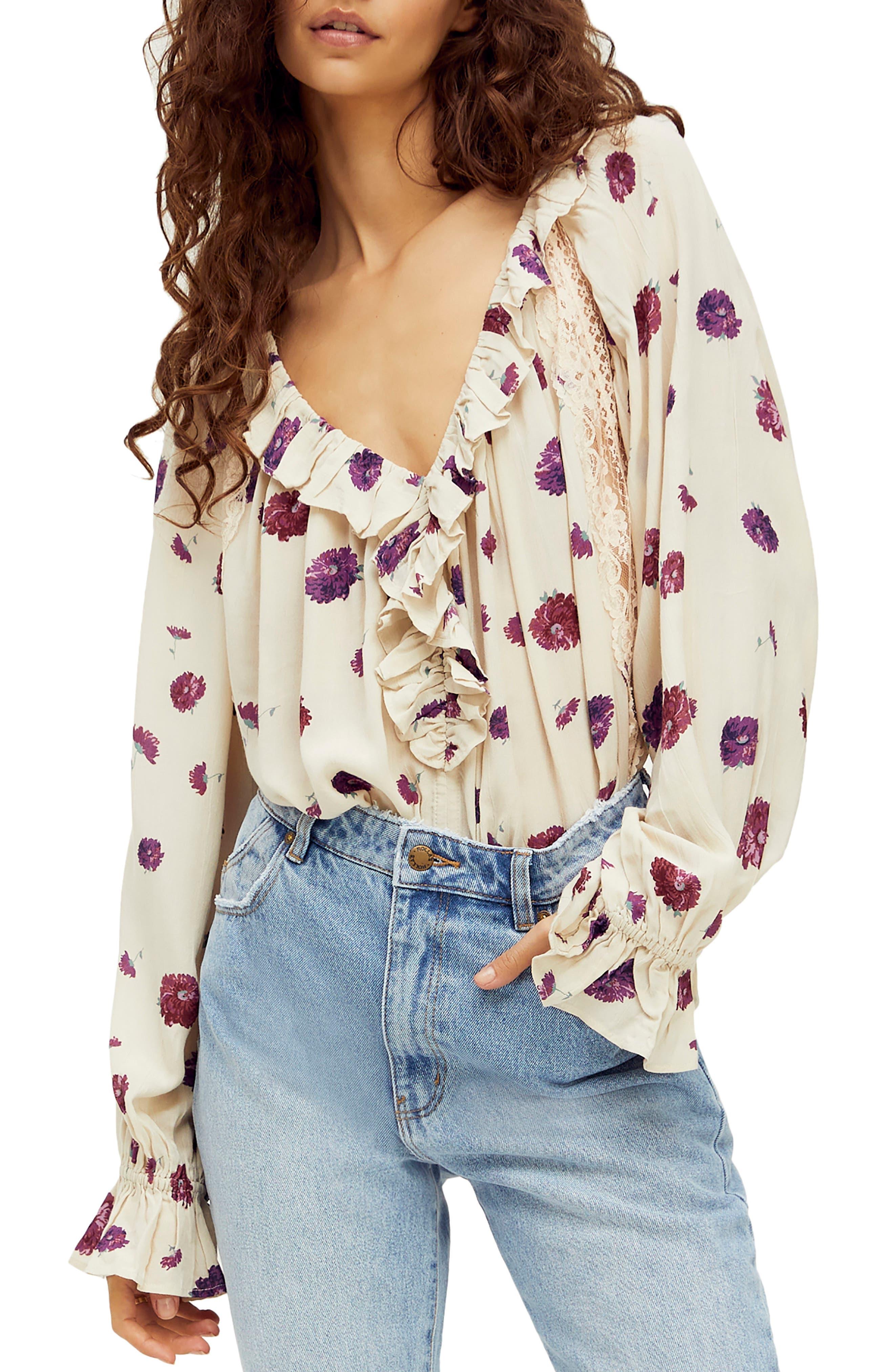 Image of Free People Poppy Printed Bodysuit