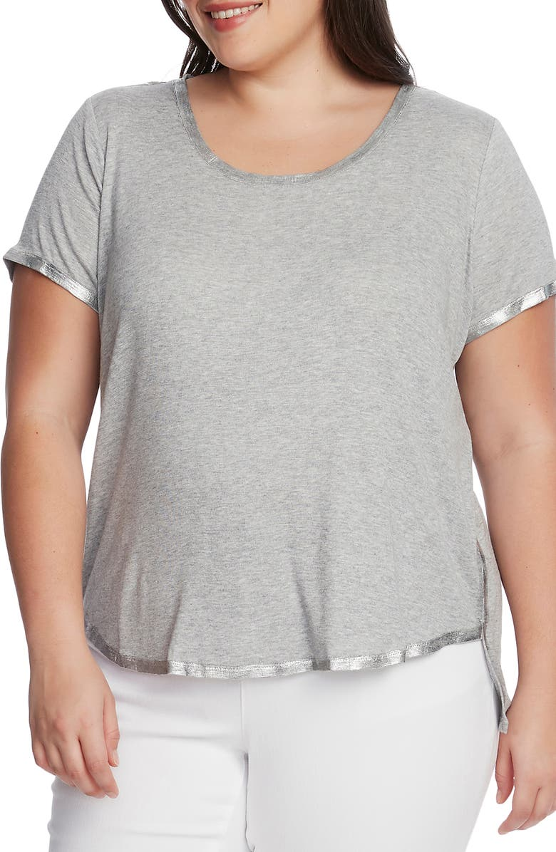 VINCE CAMUTO Foil Rib Detail T-Shirt, Main, color, SILVER HEATHER
