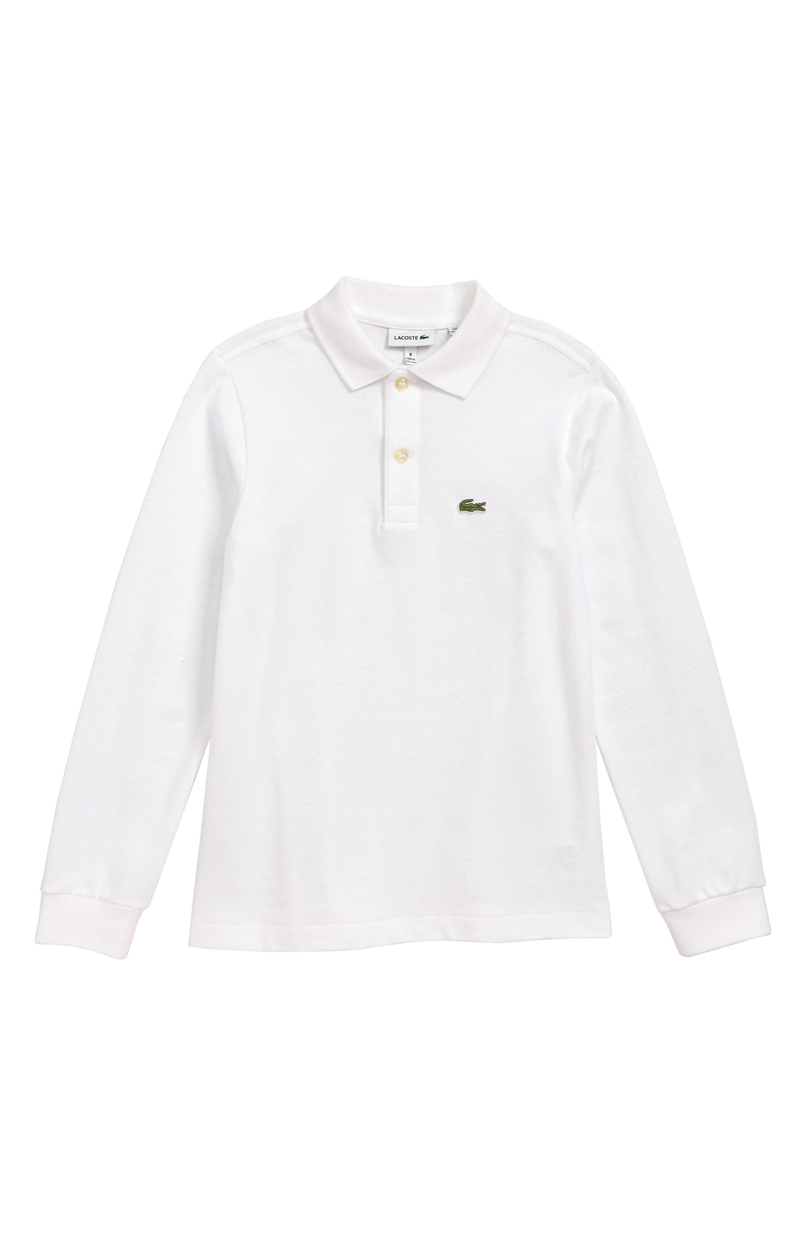 Boys Lacoste Solid Long Sleeve Polo Size 14Y  White