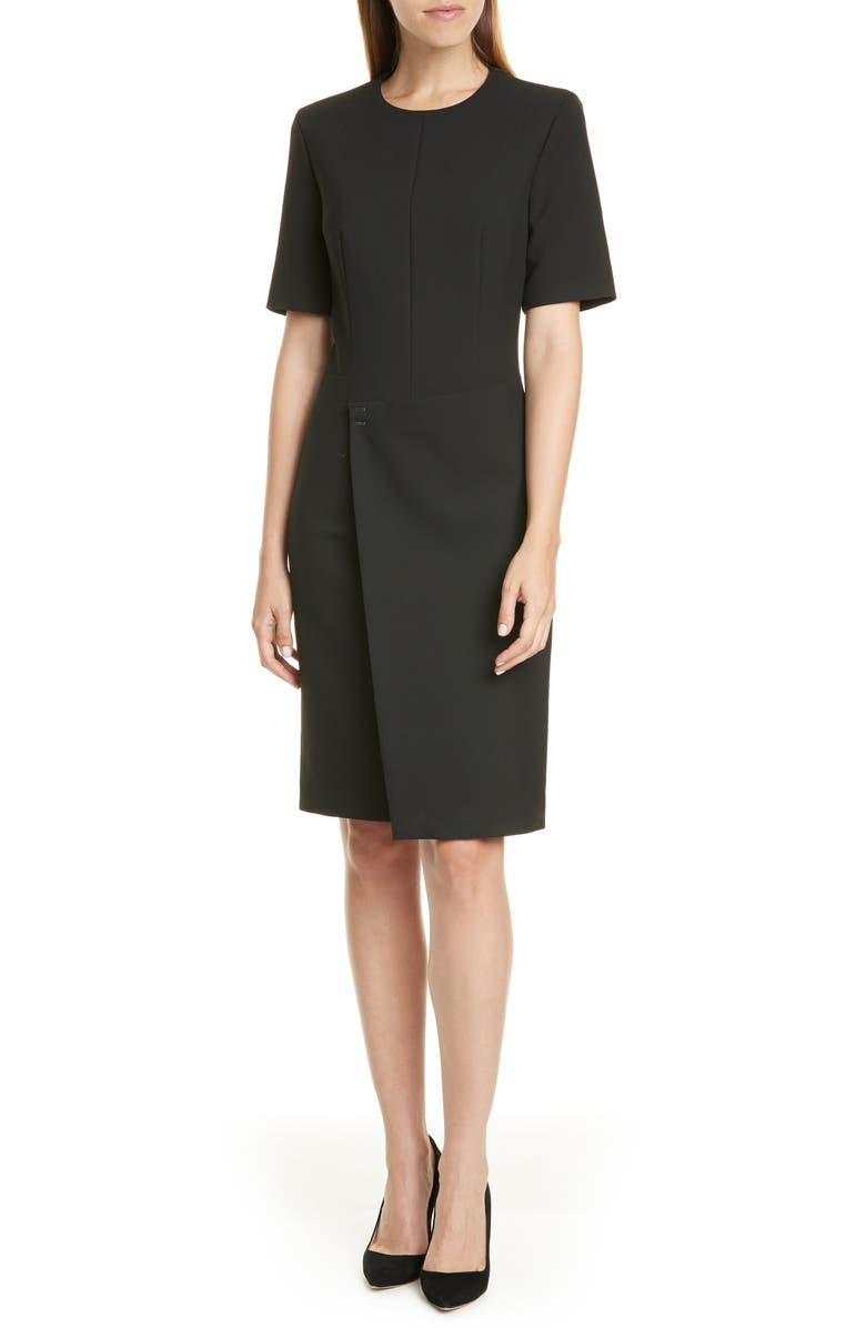 BOSS Disula Ponte Dress, Main, color, BLACK