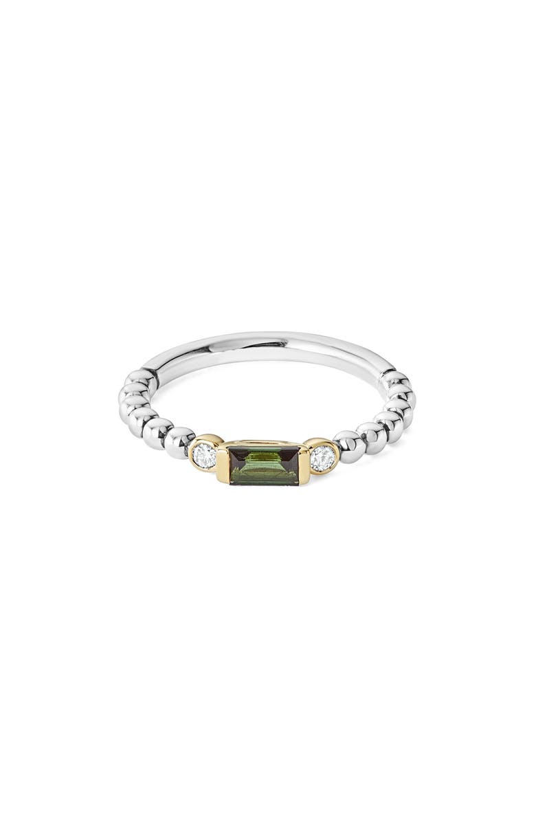 LAGOS Gemstone Baguette and Diamond Beaded Band Ring, Main, color, SILVER/ 18K GOLD/ TOURMALINE