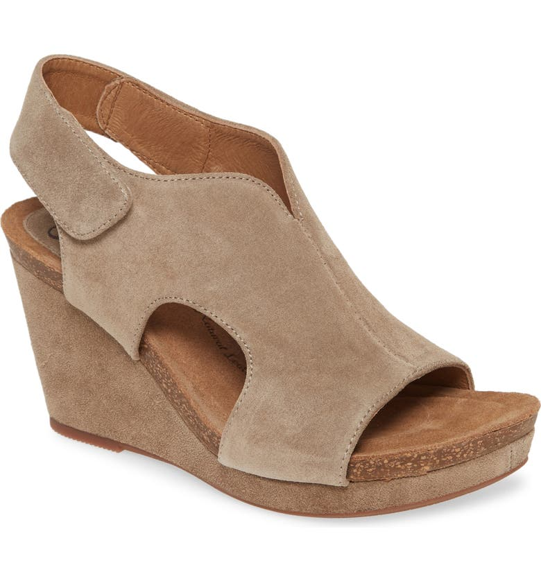 SÖFFT Chloee Wedge Sandal, Main, color, LIGHT TAUPE SUEDE