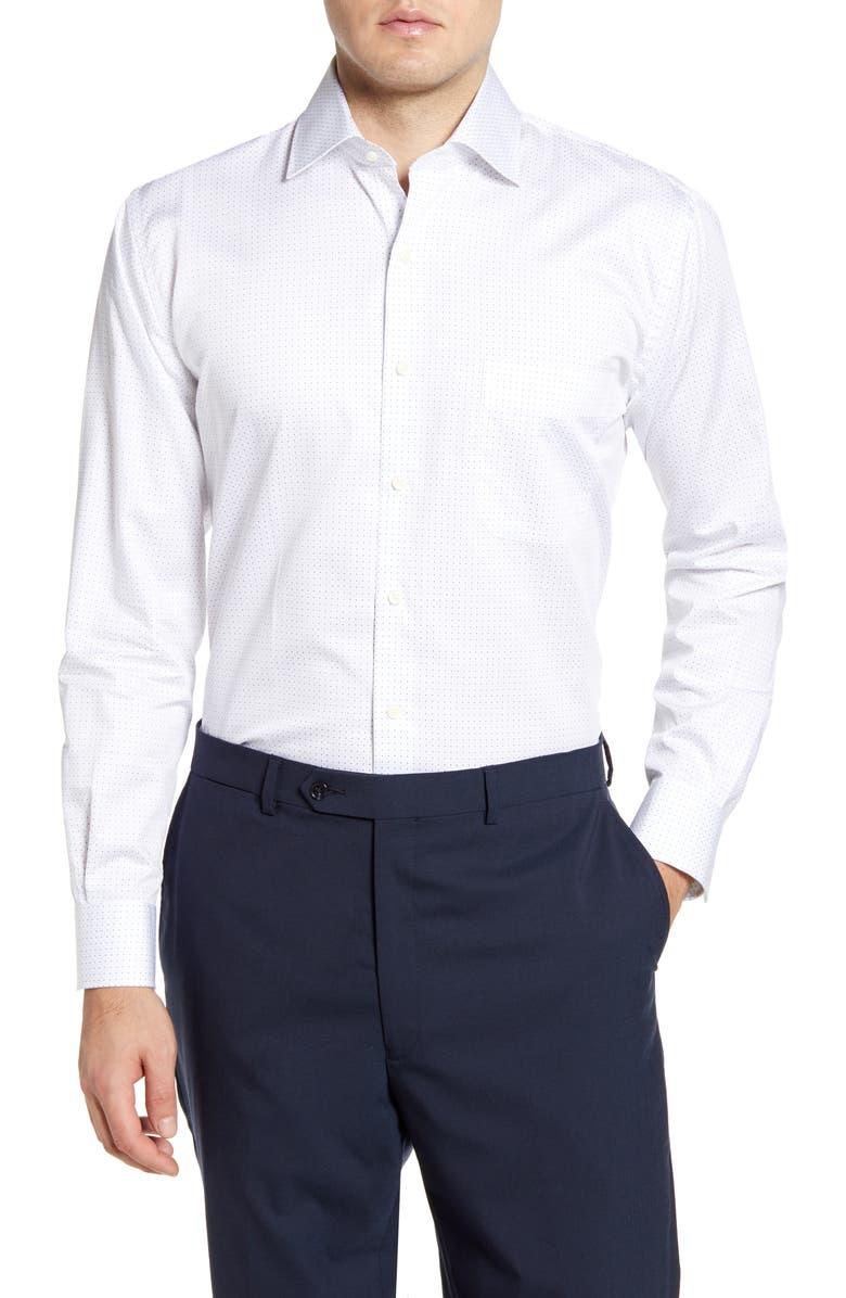 PETER MILLAR Donut Dot Regular Fit Button-Up Sport Shirt, Main, color, 100